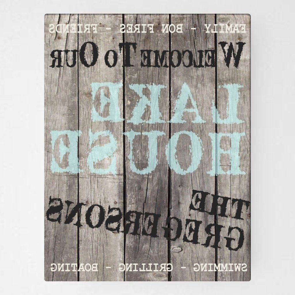 "Famous Personalized Canvas, Wood Grain ""welcome To Our Lake House"" Wall Art Intended For Lake House Wall Art (View 3 of 15)"