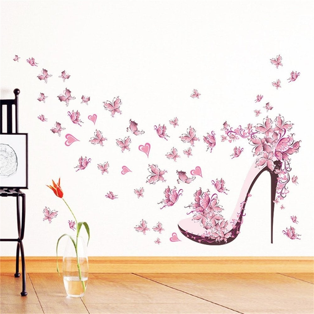 Famous Pink Wall Art With Regard To Colormix Pink Butterfly High Heels Wall Art Sticker Home Decoration (Gallery 20 of 20)