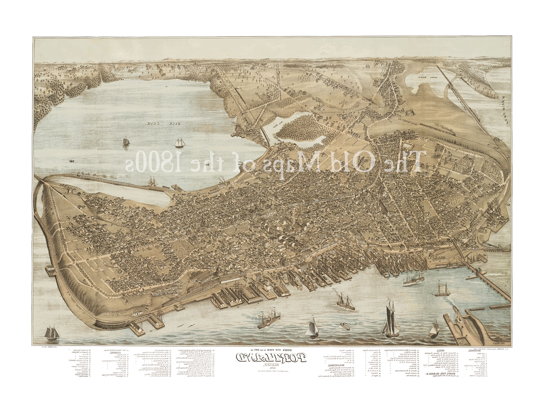 Famous Portland, Maine In 1876 – Bird's Eye View Map, Aerial, Panorama Pertaining To Portland Map Wall Art (View 4 of 20)