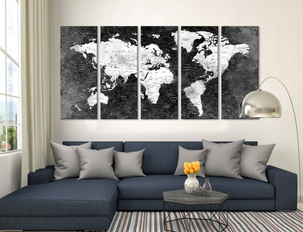 Famous Push Pin Black World Map, Large Wall Art, Push Pin World Map, World Regarding Extra Large Wall Art (View 10 of 20)