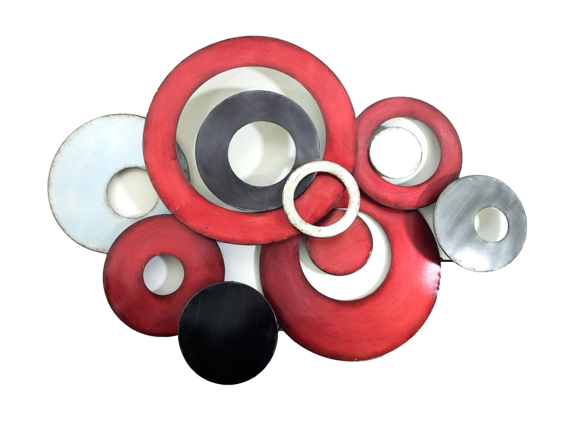 Famous Red Wall Art Within Metal Wall Art – Red Linked Circle Disc Abstract (View 6 of 15)