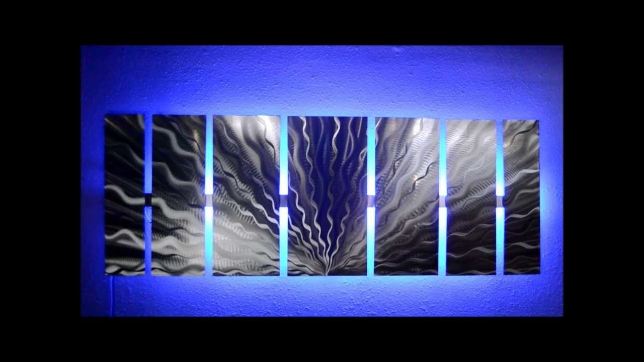 Famous Silver Vibration Led Lighted Metal Wall Artbrian M Jones – Youtube Inside Lighted Wall Art (View 13 of 20)