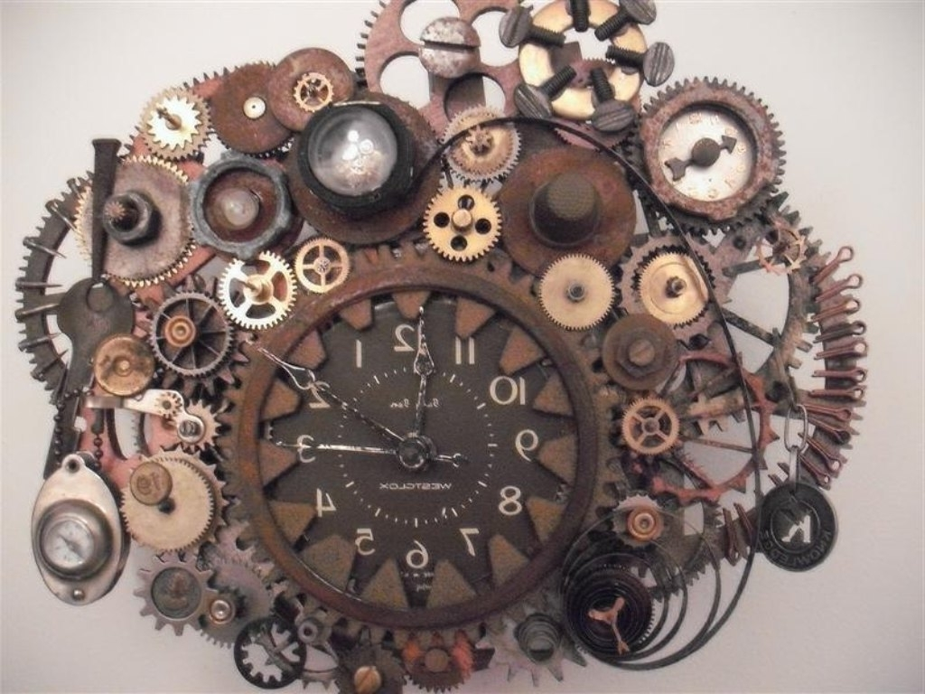 Famous Steampunk Wall Clock Working Gears Photos On Diy Steampunk Wall Art Throughout Steampunk Wall Art (View 4 of 20)