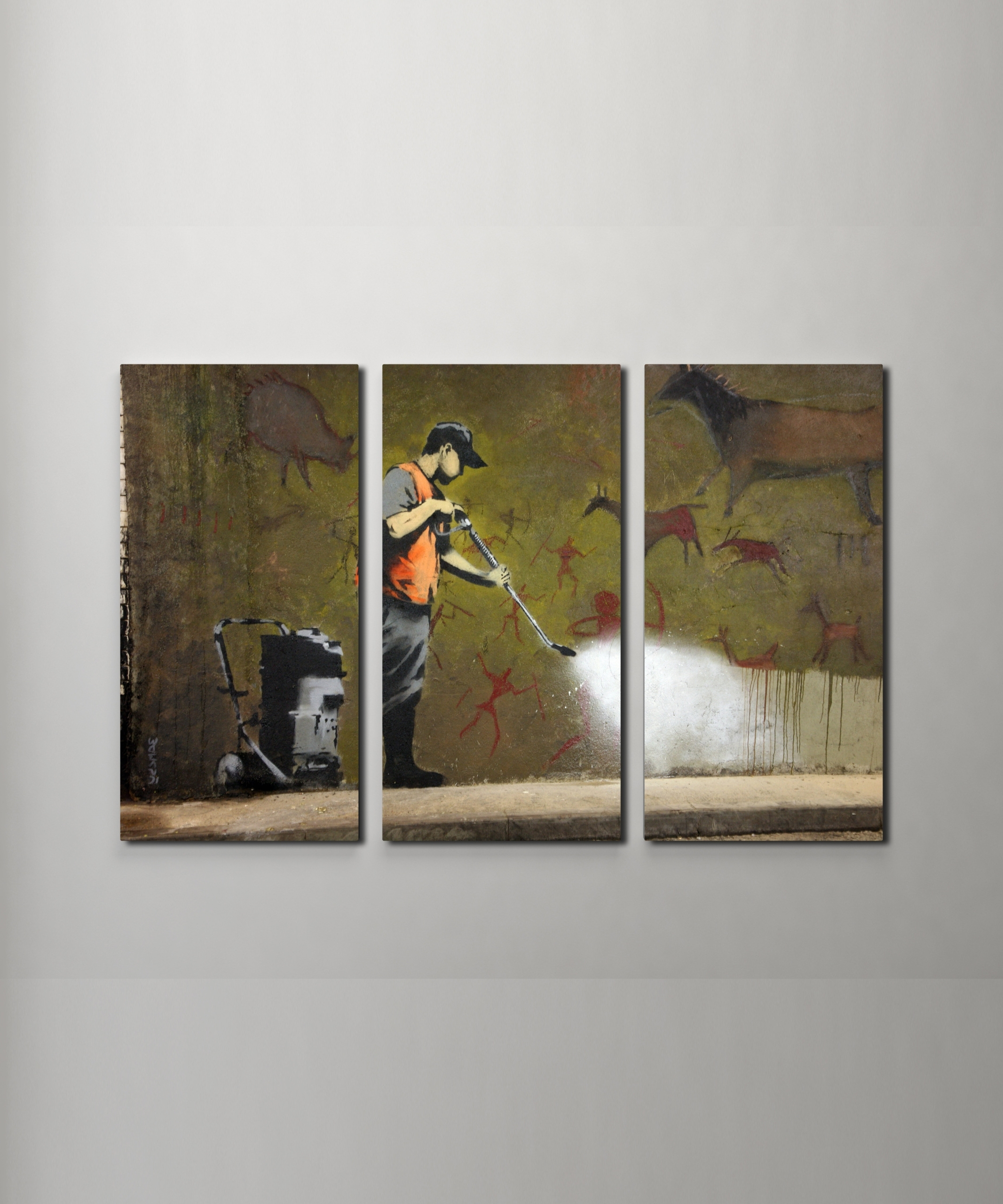 Famous Triptych Wall Art Within Banksy Cave Painting Canvas Triptych Wall Art (View 3 of 20)