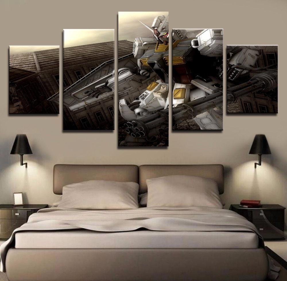 Famous Wall Art Painting Pictures Canvas Printed Anime Modular Poster 5 With Regard To 5 Panel Wall Art (Gallery 13 of 20)