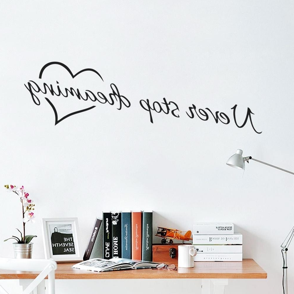 Famous Wall Art Quotes Intended For Never Stop Dreaming Inspirational Quotes Wall Art Bedroom Decorative (View 5 of 20)