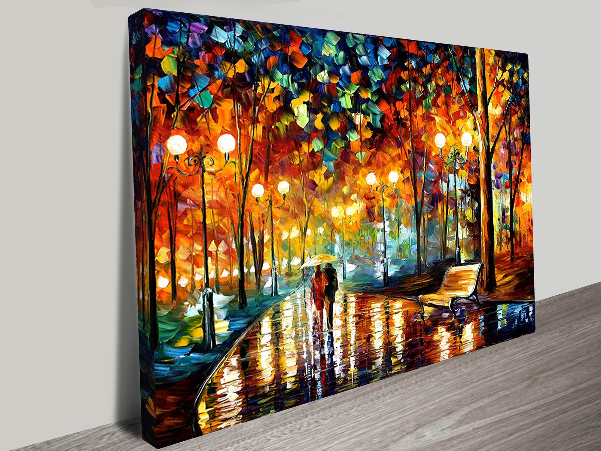 Famous Wall Canvas Art With Regard To Rain Rustle Leonid Afremov Canvas Art Print (View 4 of 15)