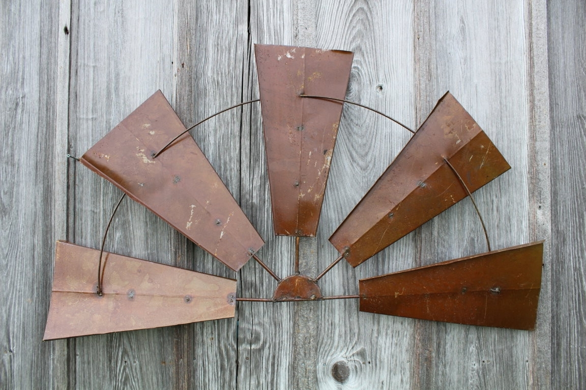 "Famous Windmill Wall Art Within Large Rustic Wall Decor New 28"" Rustic Metal Half Windmill Country (View 2 of 20)"