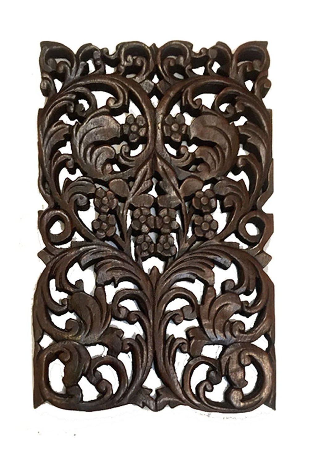 Famous Wood Carved Panels Floral. Oriental Home Decor (View 7 of 20)