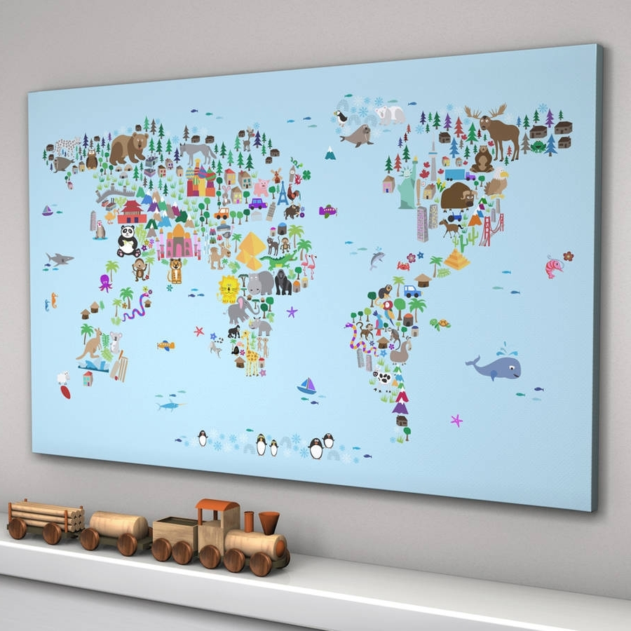 Famous World Map Wall Art For Kids With Animal World Map Printartpause (Gallery 3 of 20)