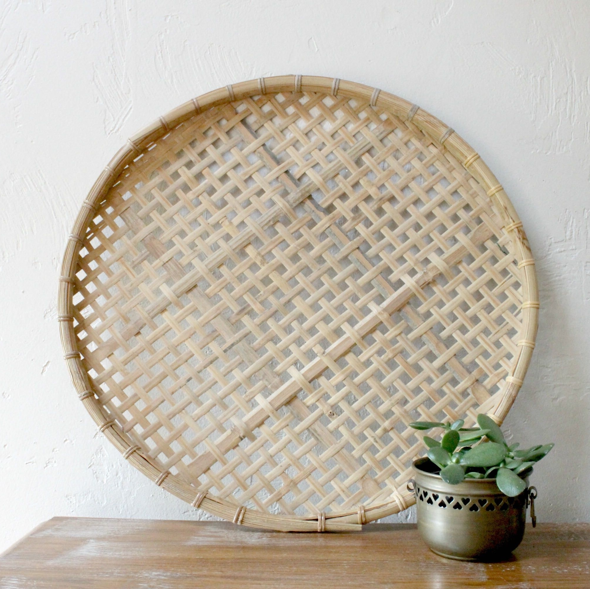 Famous Woven Basket Wall Art Intended For Large Flat Woven Wall Basket Bamboo Basket Large Basket Tray Wall (View 4 of 20)