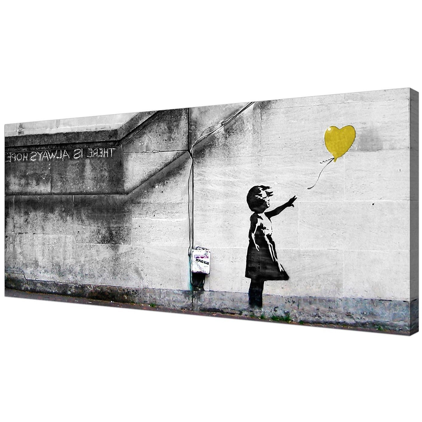 Famous Yellow Wall Art With Cheap Yellow Canvas Art Of Banksy Balloon Girl (View 3 of 20)