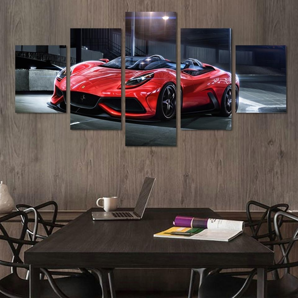Fashionable 5 Panel Cool Red Sports Car Modern Wall Painting Large Hd Canvas For Car Canvas Wall Art (View 9 of 20)