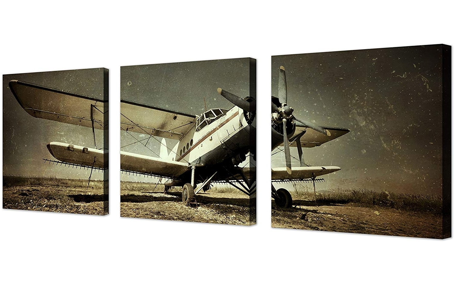 Fashionable Amazon: Qicai Vintage Airplane Wall Art Giclee Canvas Vintage With Regard To Airplane Wall Art (View 14 of 20)