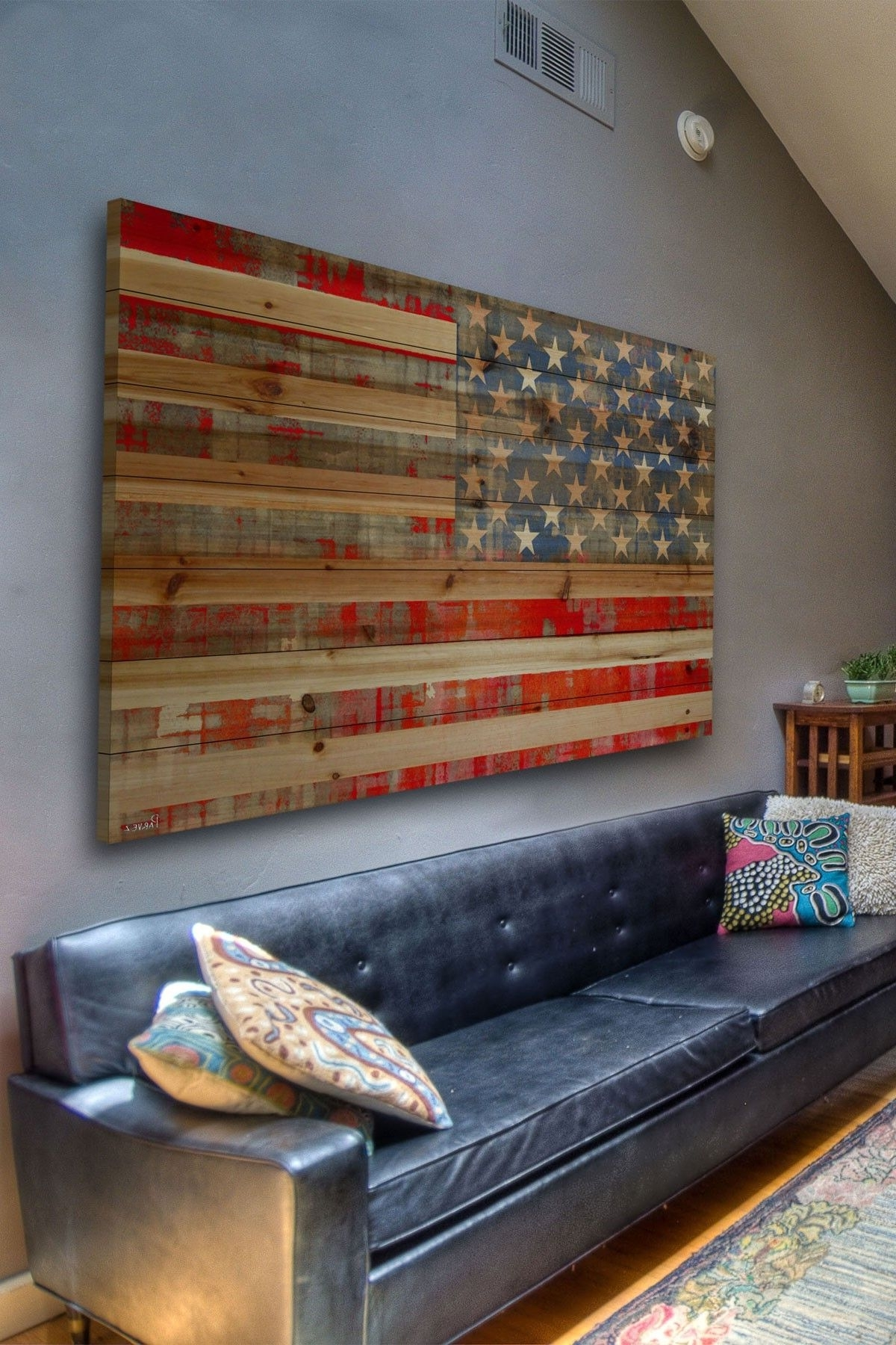 Fashionable American Flag Wall Art Intended For Rustic American Flag Decor Maybe For A Basement Or Lake House (View 8 of 15)