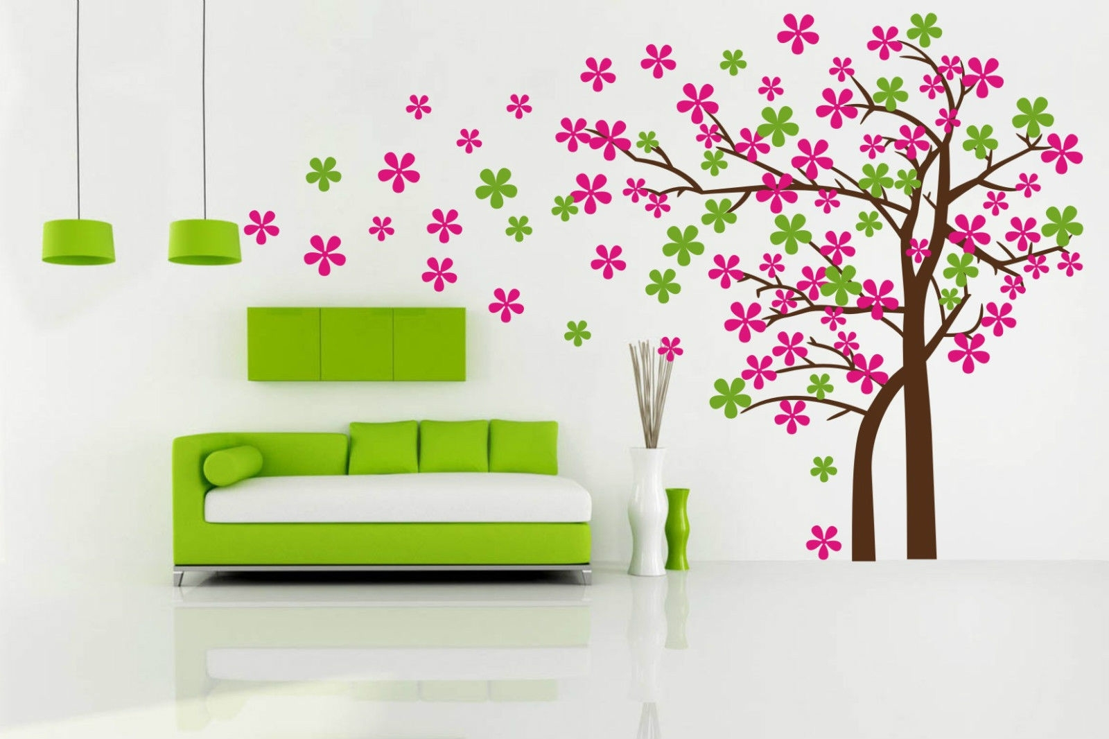 Fashionable Baby Room Wall Art Inside Blowing Tree Removable Wall Art Stickers Kids Nursery Baby Room (View 18 of 20)