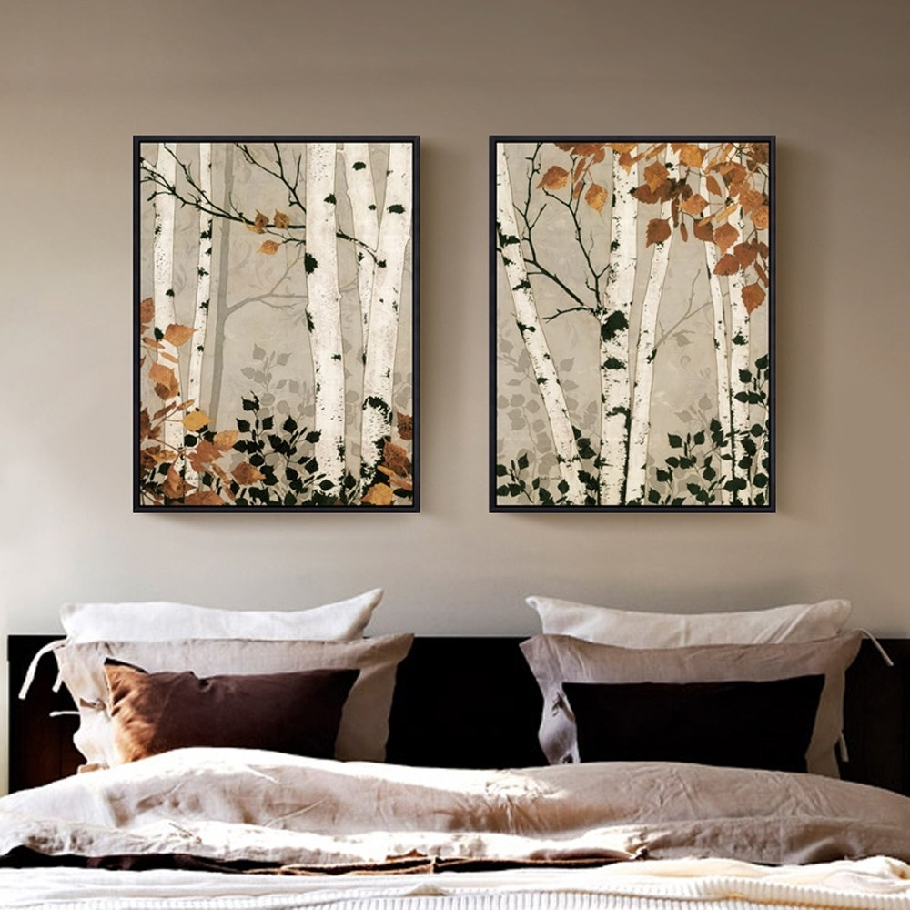 Fashionable Birch Tree Wall Art In 2 Panel Unframed Modern White Birch Tree Canvas Painting Wall Art (View 11 of 20)