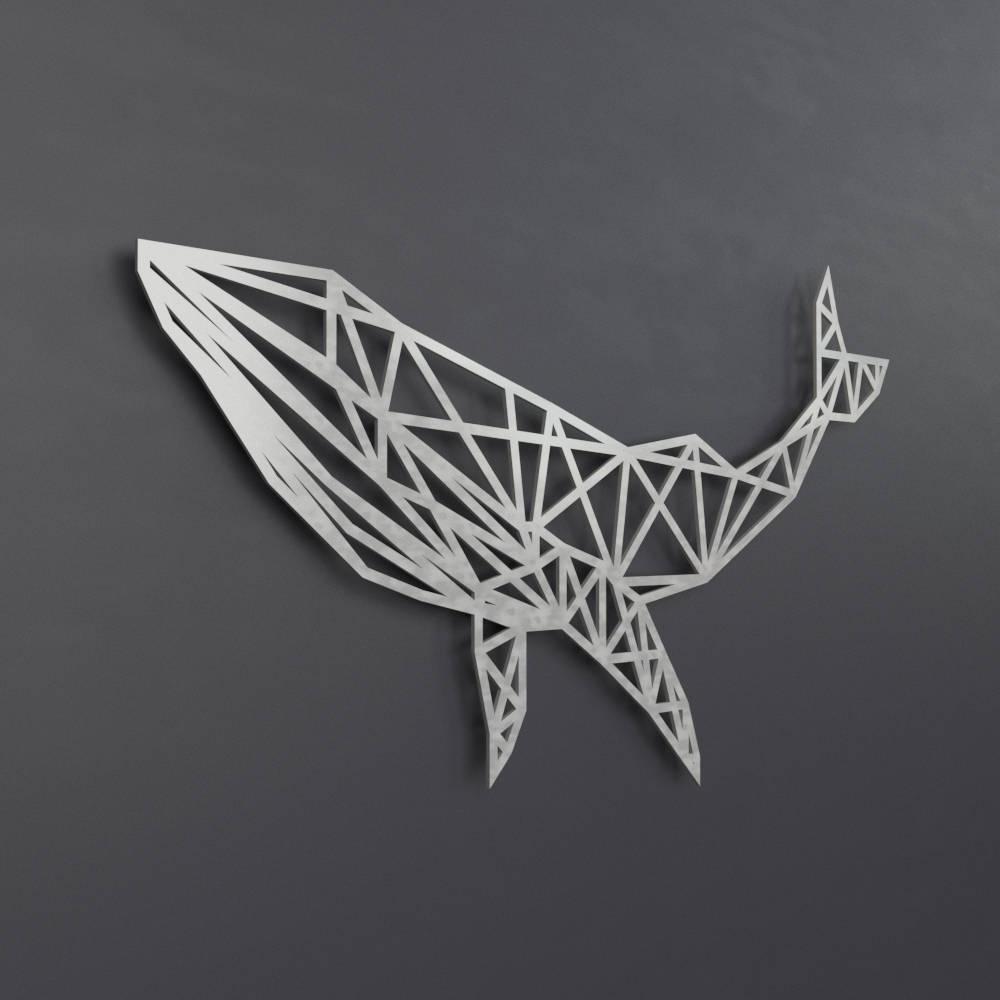 Fashionable Blue Whale Metal Wall Art Sculpture, Geometric Wall Art, Whale Wall With Regard To Geometric Metal Wall Art (View 4 of 20)