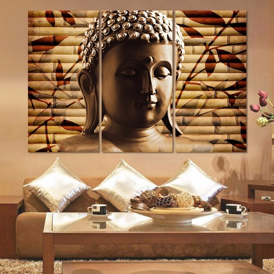 Fashionable Canvas Pictures Home Decor Wall Art 3 Piece Classical Buddha With Regard To Asian Wall Art (Gallery 8 of 15)