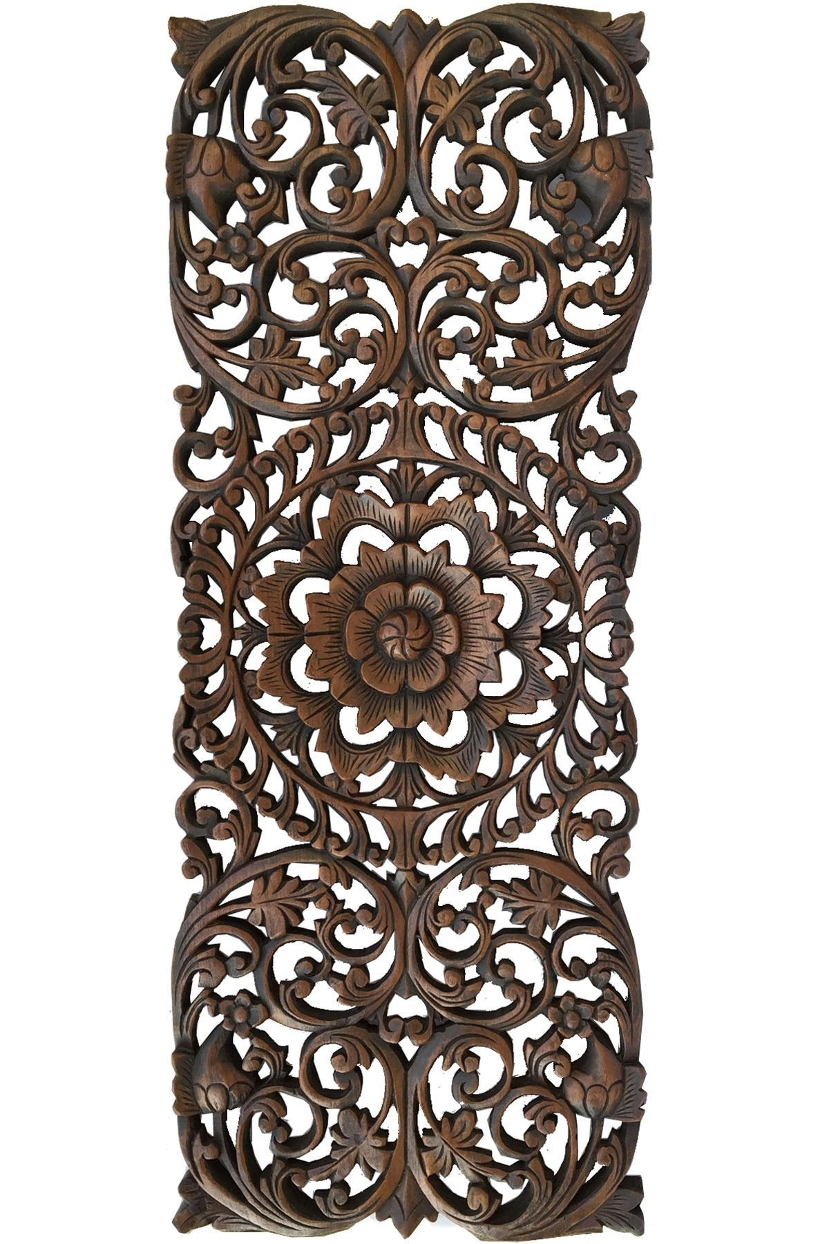 Fashionable Carved Wood Wall Art Within Floral Tropical Carved Wood Wall Panel. Asian Wall Art Home Decor (Gallery 14 of 15)
