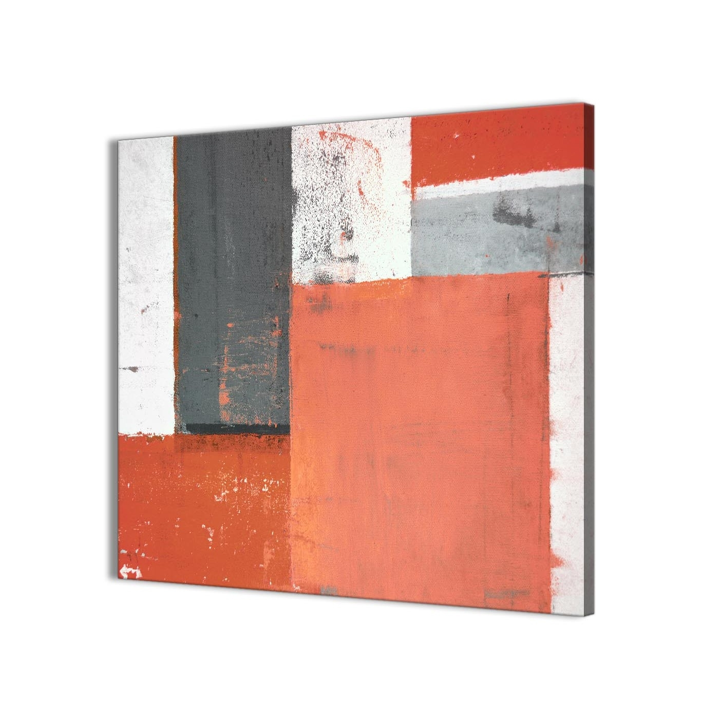 Fashionable Coral Wall Art Inside Coral Grey Abstract Painting Canvas Wall Art Pictures – Modern 49Cm (Gallery 13 of 20)