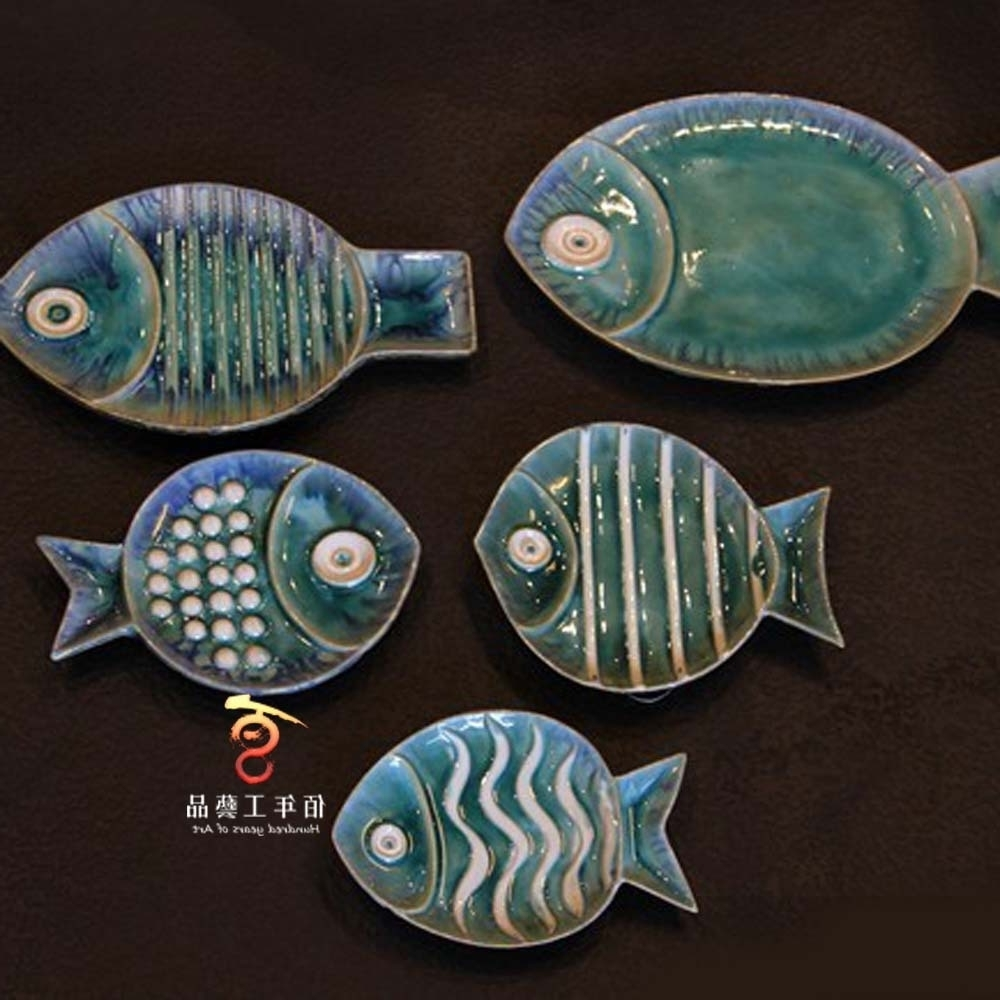 Fashionable Creative Background Wall Decoration Ceramic Fish Wall Hangings Pertaining To Ceramic Wall Art (View 13 of 20)