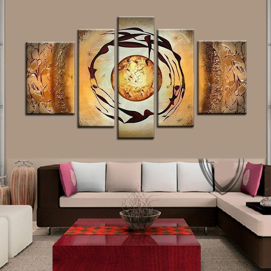 Fashionable Decorative Wall Art For 2018 The Abstract Planet! 5 Panels Oil Painting On Canvas Abstract (View 7 of 20)