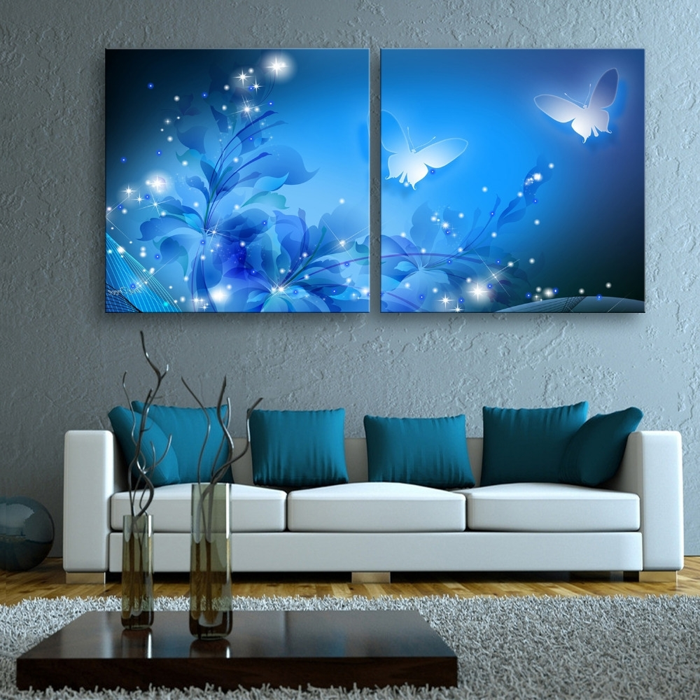 Fashionable Free Shipping Stretched Canvas Prints Shining Butterfly Led Flashing Regarding Led Wall Art (View 5 of 20)