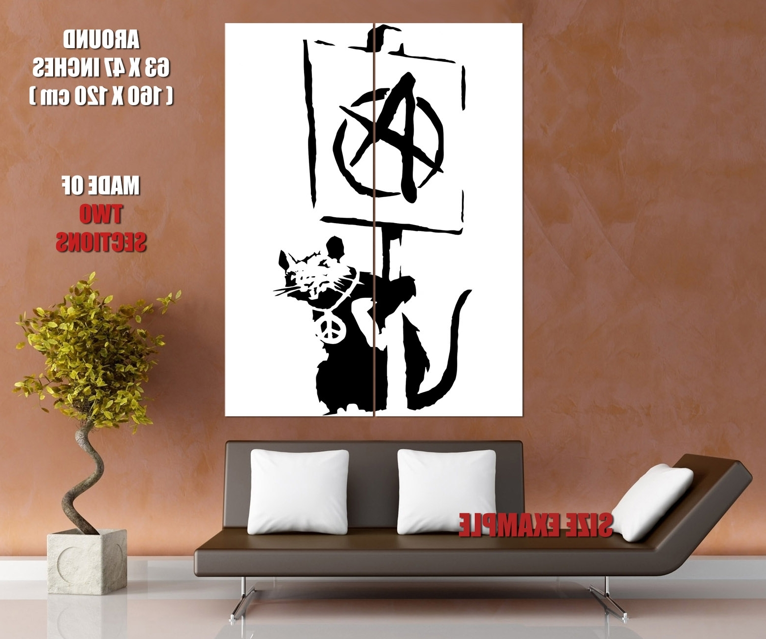 Fashionable Giant Wall Art Intended For Banksy Rat Anarchy Pacifism Cool Graffiti Art Huge Giant Wall Print (View 2 of 20)
