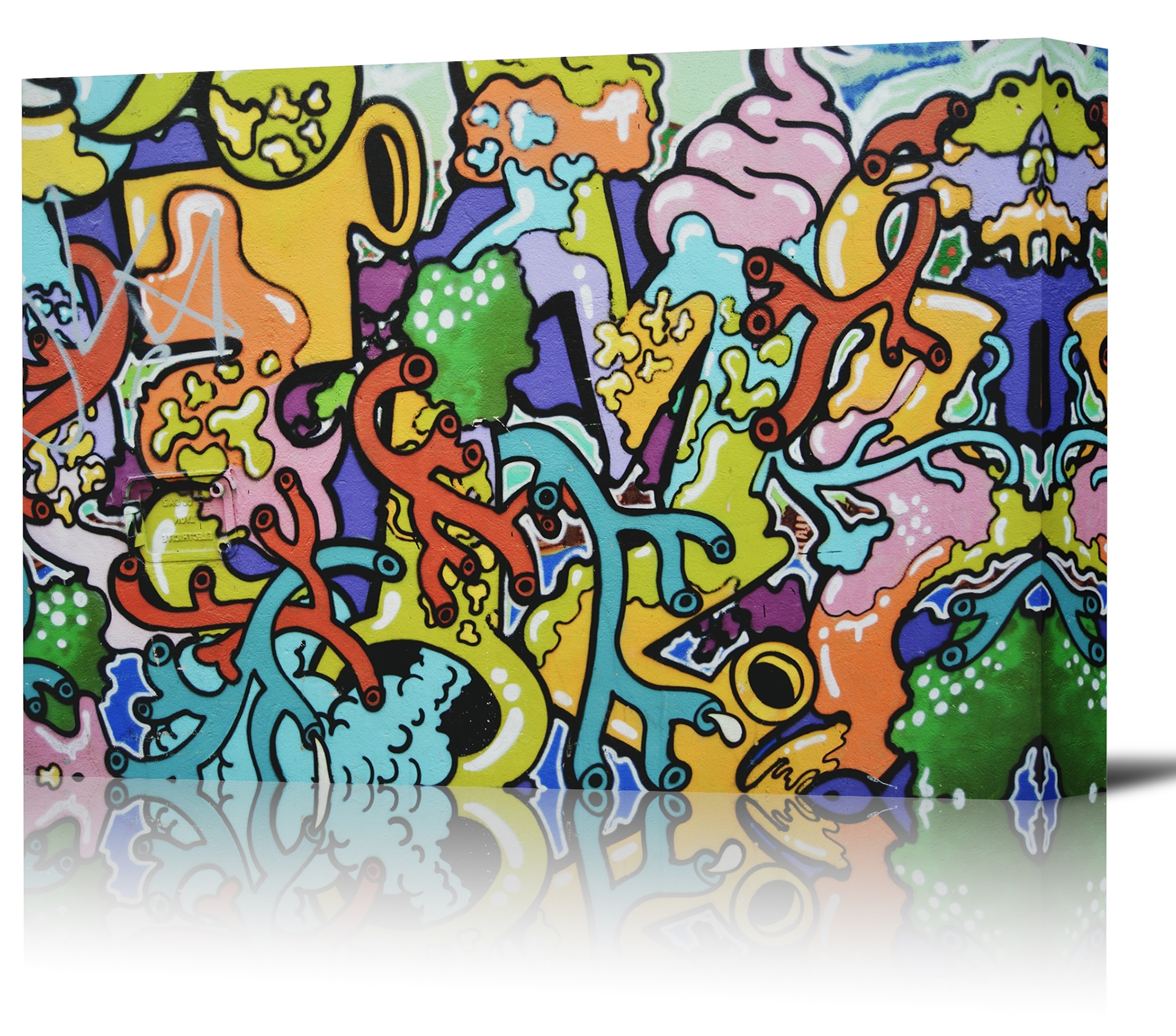 Fashionable Graffiti Colorful Wall Art Print Decor Image – Canvas Stretched Regarding Colorful Wall Art (Gallery 3 of 20)