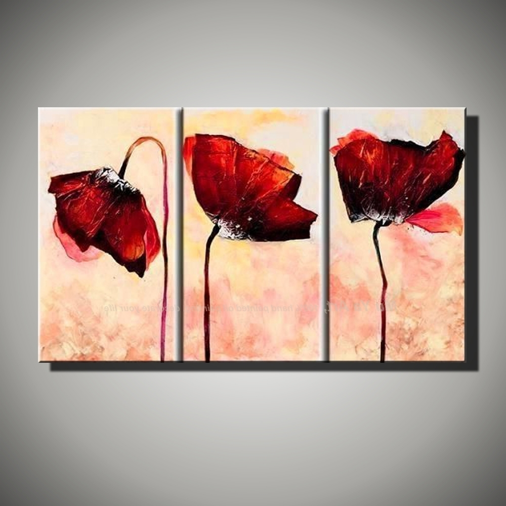 Fashionable Hand Painted Modern Wall Decor Painting 3 Piece Canvas Wall Art For 3 Piece Canvas Wall Art (View 9 of 20)