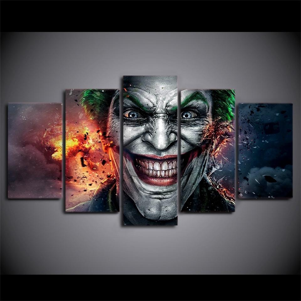 Fashionable Joker Wall Art Within Artsailing 5 Pieces Canvas Paintings Batman Joker Comics Wall Art (View 9 of 20)