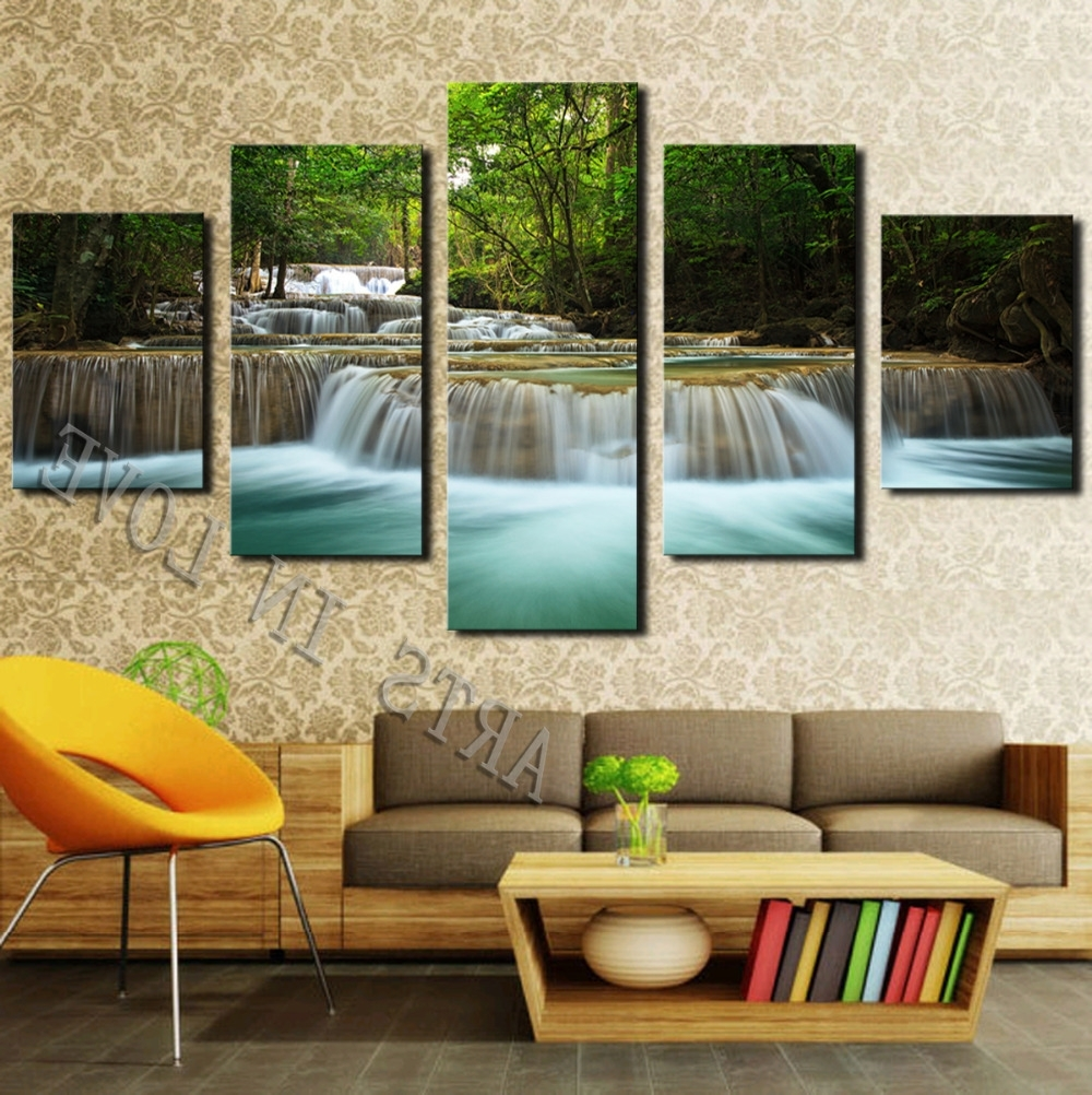 Fashionable Large Framed Canvas Wall Art Regarding 5 Panel Waterfall Painting Canvas Wall Art Picture Home Decoration (View 18 of 20)
