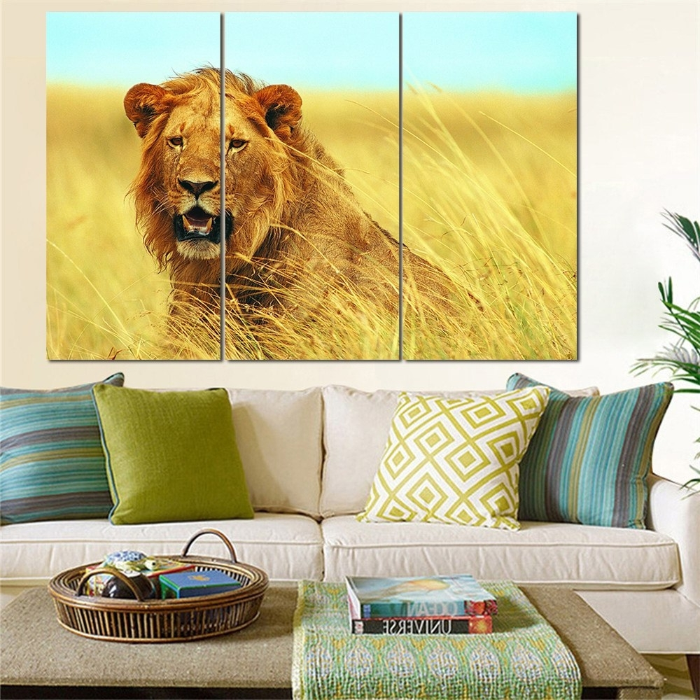 Fashionable Lion King Wall Art In No Frame Animal Oil Painting Lion King Posters Wall Art And Prints (View 4 of 20)