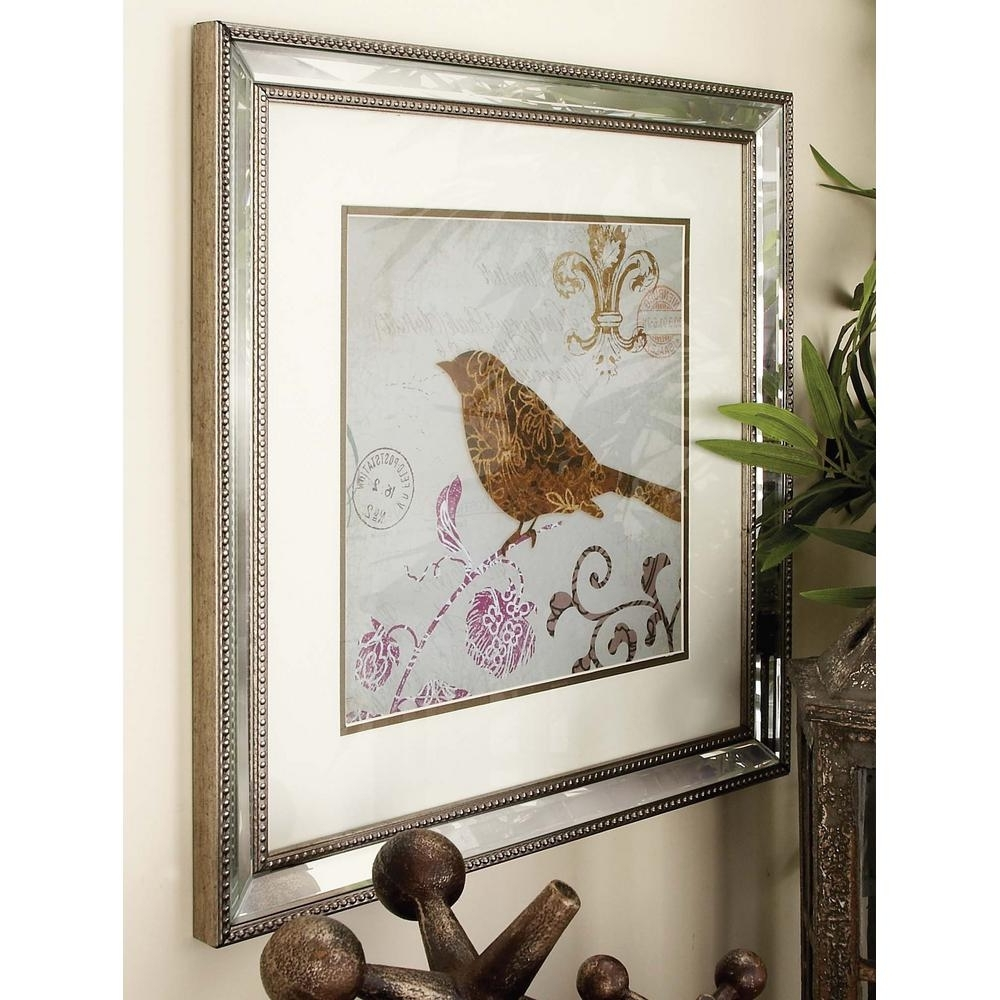 Fashionable Litton Lane 19 In. X 19 In. Modern Mirror Framed Birds Wall Art (2 Inside Bird Framed Canvas Wall Art (Gallery 12 of 20)