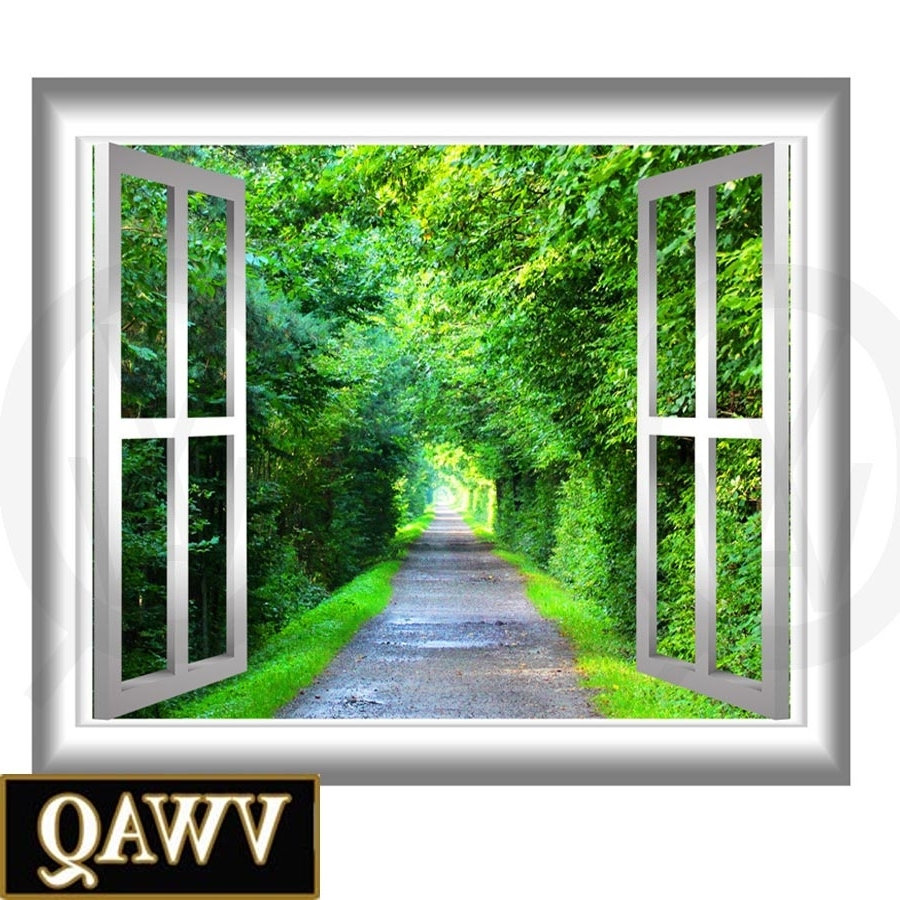 Fashionable Peaceful Walking Path Window Frame 3D Wall Art Serene Trees And For Window Frame Wall Art (View 4 of 15)