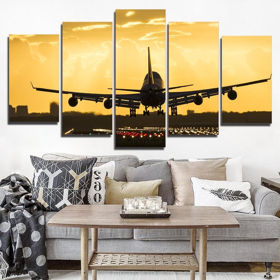 Fashionable Piece Golden Cool Airplane Wall Art – Wall Decoration And Wall Art Ideas For Airplane Wall Art (View 15 of 20)