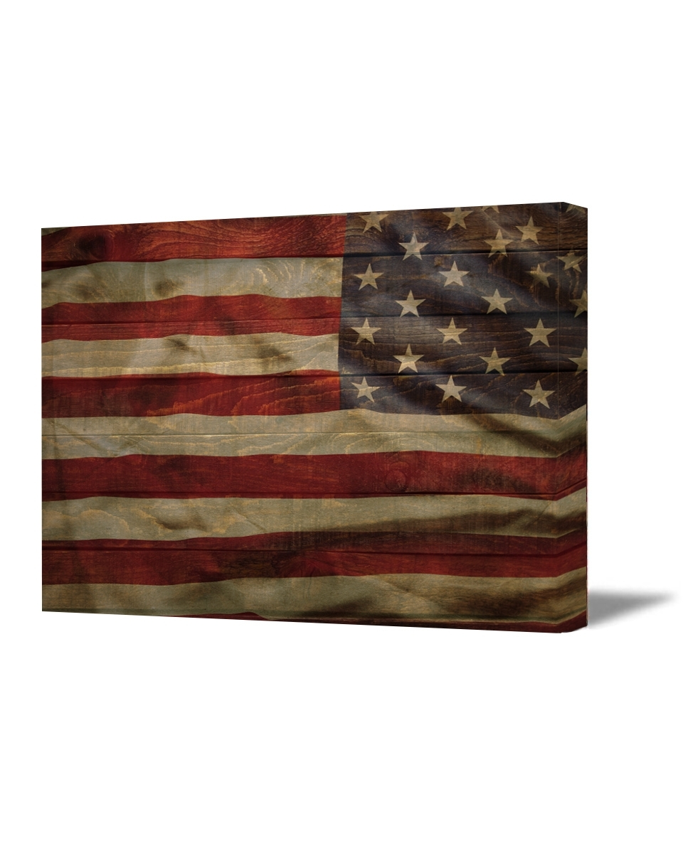 Fashionable Rustic American Flag Wall Art Intended For American Flag Canvas Art Retro Rustic Style Usa Art American Flag (View 3 of 20)