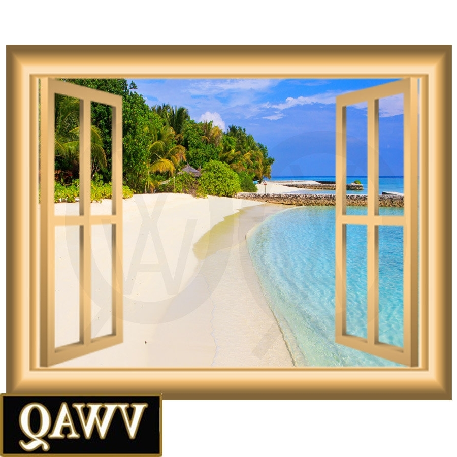 Fashionable Sandy Beach Vinyl Decal Window Frame Scene Wall Art Peel And Stick Regarding Window Frame Wall Art (View 5 of 15)