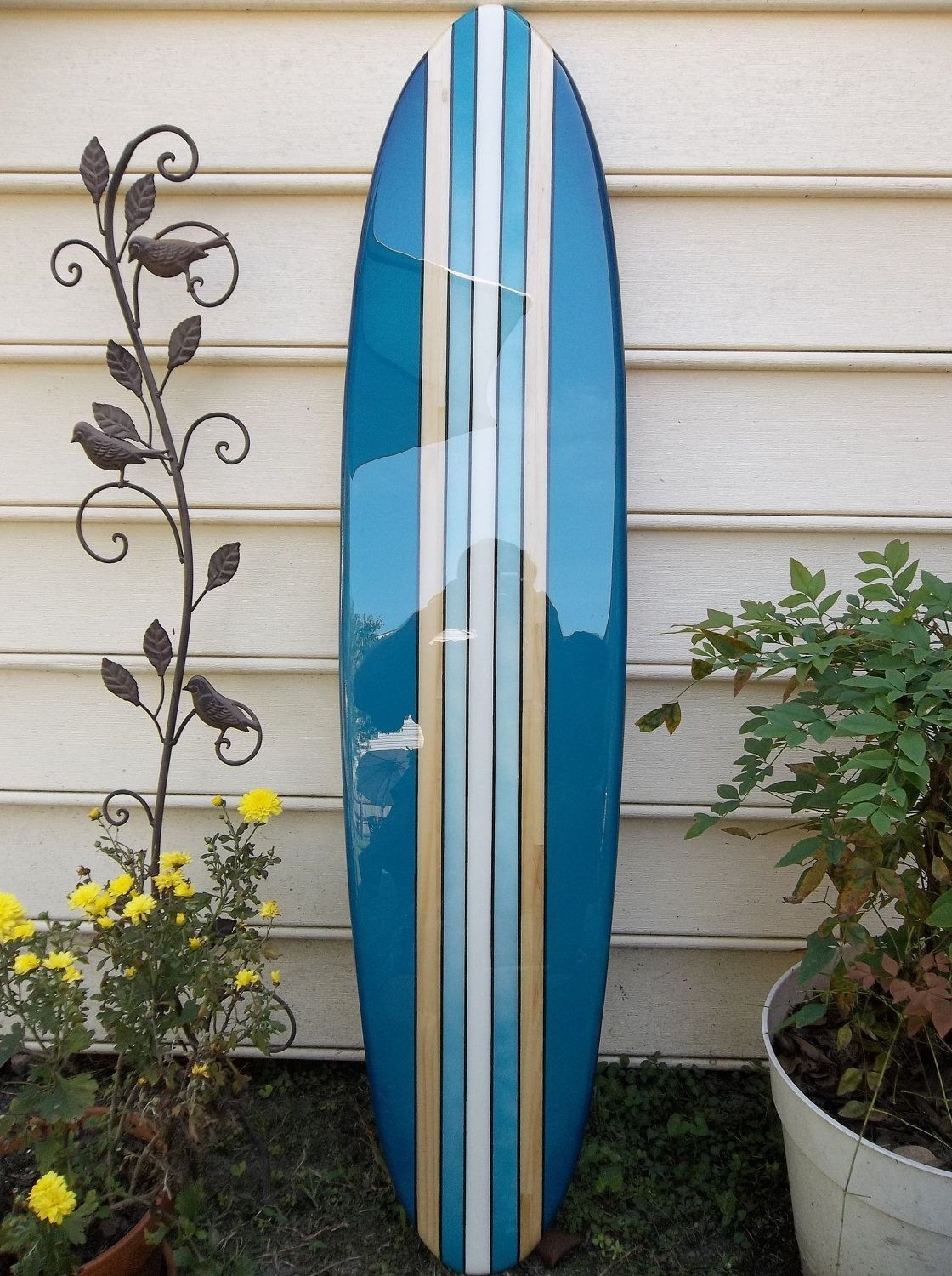 Fashionable Surfboard Wall Hanging, Surfboard Wall Art , Deep Aqua Old School Within Surfboard Wall Art (View 4 of 20)