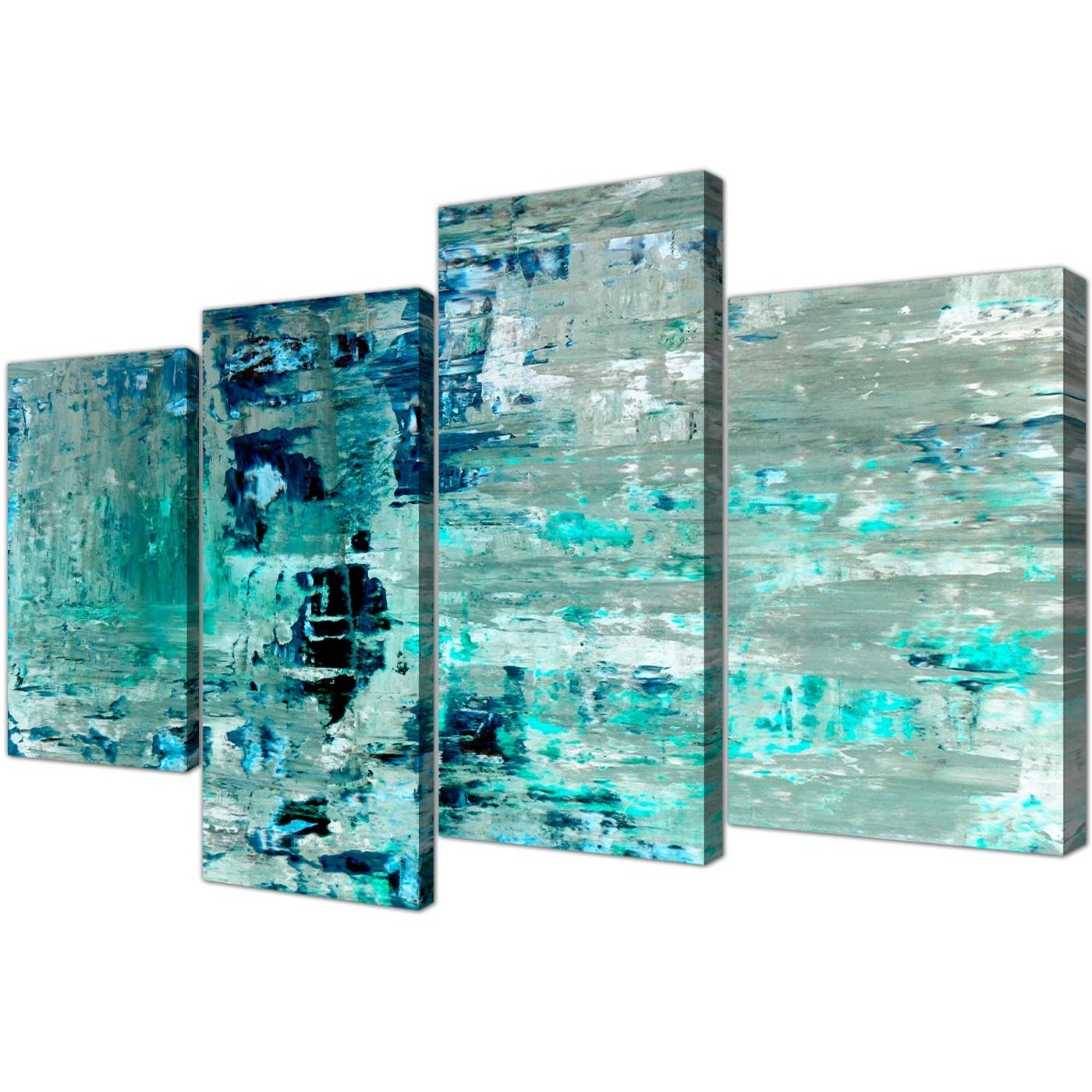 Fashionable Teal Wall Art With Regard To Large Turquoise Teal Abstract Painting Wall Art Print Canvas – Multi (View 7 of 15)