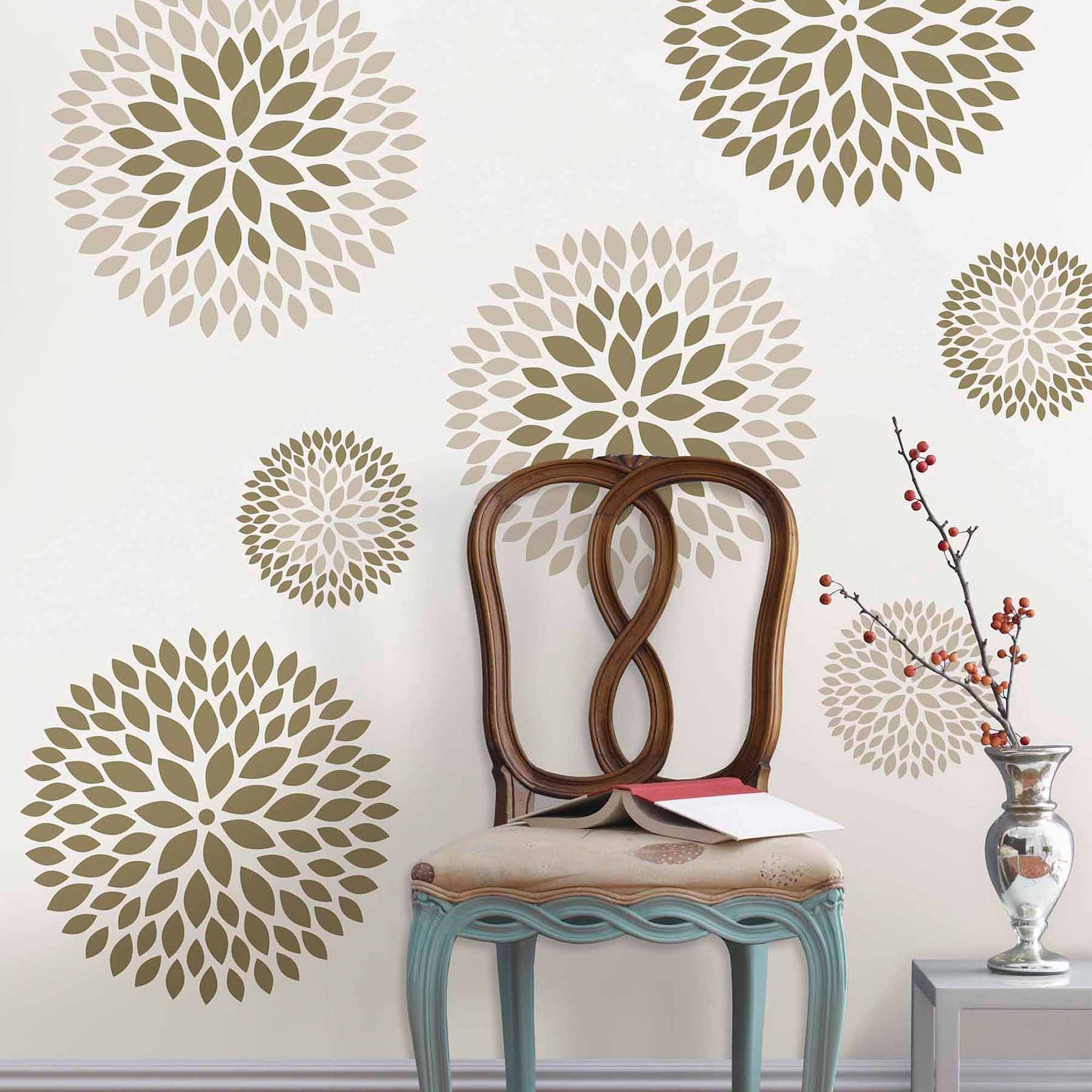 Fashionable Wallpops Chrysanthemum Wall Art Decals Kit – Walmart Pertaining To Wall Art At Walmart (View 6 of 20)