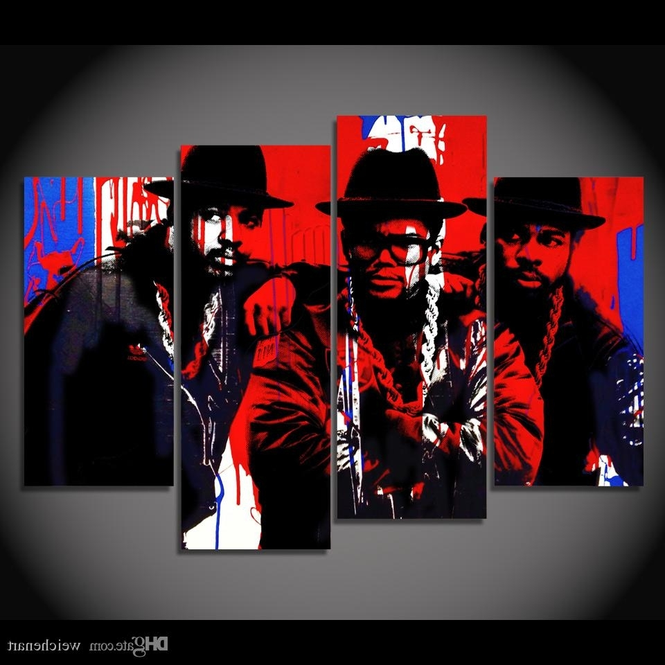 Favorite 2018 Canvas Painting 4 Panels Canvas Art Black Hip Hop Singer Poster With Regard To Hip Hop Wall Art (View 2 of 15)