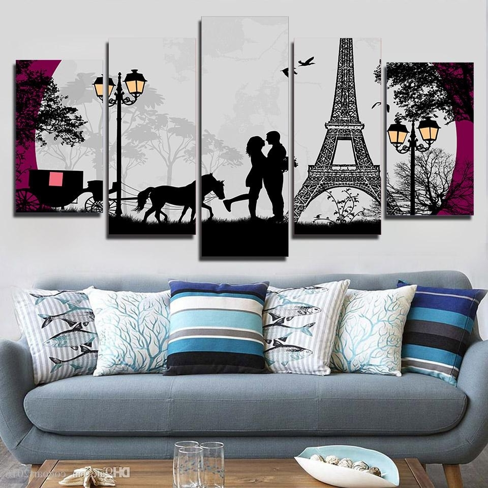 Favorite 2018 Hd Printed Canvas Art Paris Eiffel Tower Moon Canvas Prints Within Paris Wall Art (View 14 of 15)