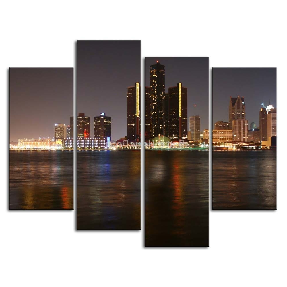 Favorite 3 Piece Wall Art Painting Detroit Skyline Print On Canvas The In Multi Piece Wall Art (View 7 of 20)