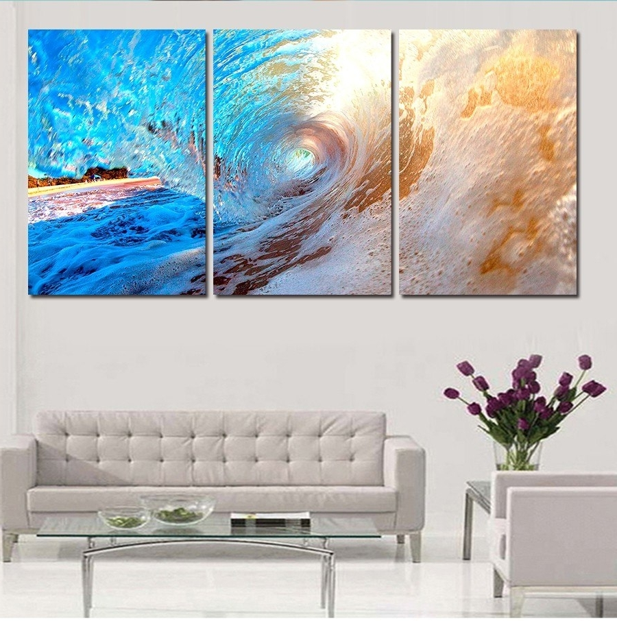 Favorite 3 Plane Abstract Sea Wave Modern Home Decor Wall Art Canvas Blue Regarding Ocean Wall Art (View 4 of 20)