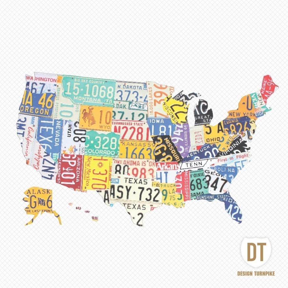 Favorite 45 Ideas Of License Plate Map Wall Art Within Usa Print – Keysub With Usa Map Wall Art (View 6 of 20)