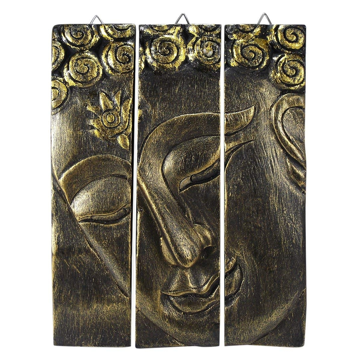 Favorite Amazon: Gold Tone Buddha Face Nirvana Spirit 3 Panel Hand Carved Pertaining To Carved Wood Wall Art (View 9 of 15)