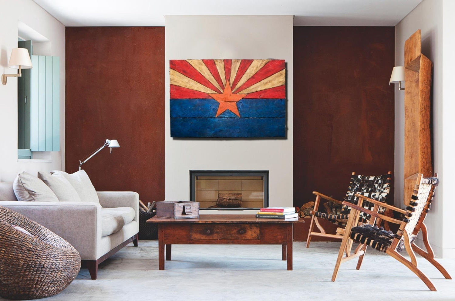 Favorite Arizona Flag, Handmade, Distressed Painted Wood, Vintage, Art Regarding Arizona Wall Art (View 9 of 20)