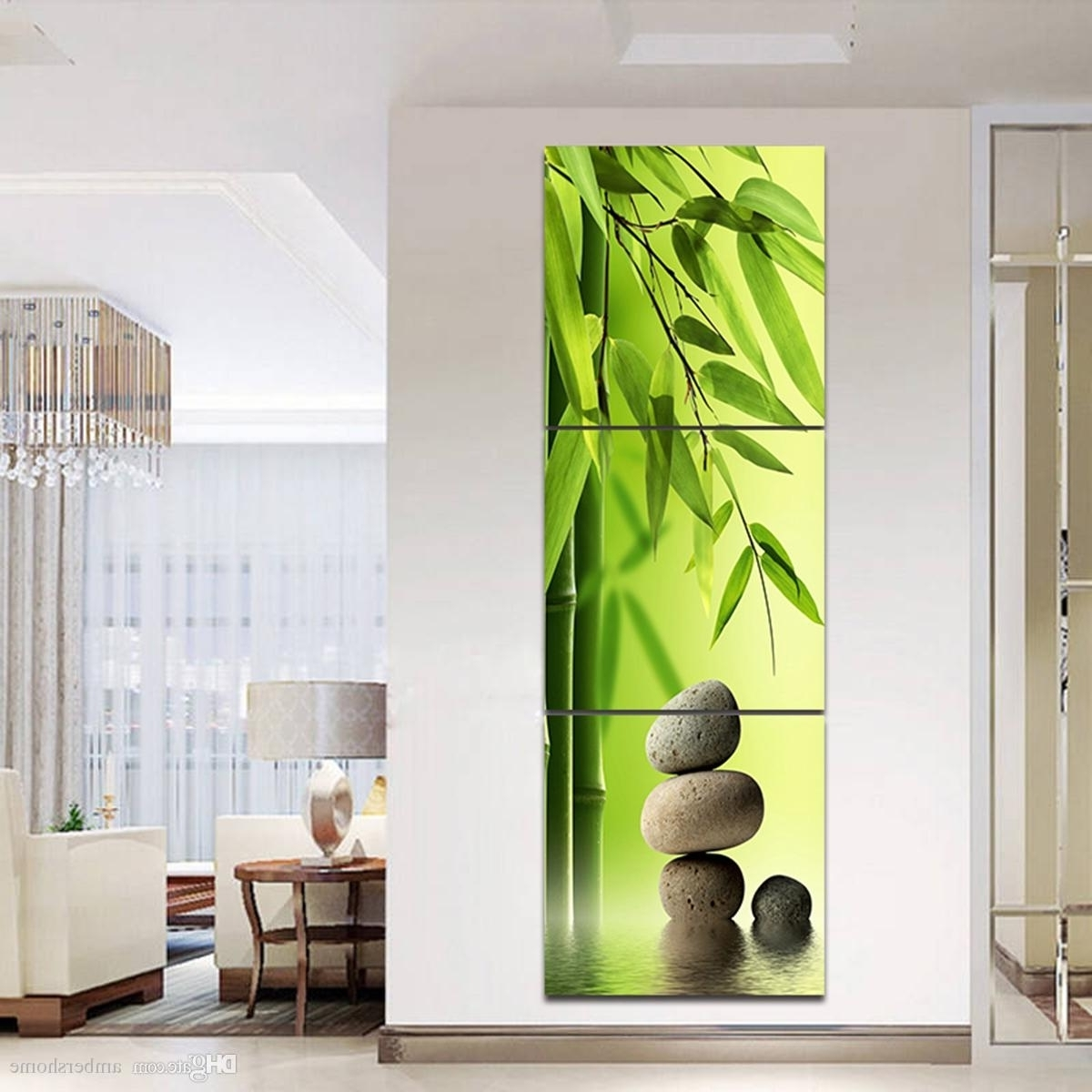 Favorite Bamboo Wall Art Pertaining To Triple Horizontal Bamboo Hand Painted Painting Canvas Art Pertaining (View 12 of 20)